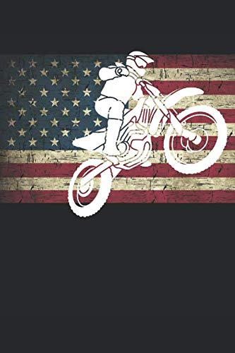 Patriotic Dirt Bike Notebook Journal: 120 Blank Lined Pages Softcover Notes Journal, College Ruled Composition Notebook, 6x9 Dirt Bike Silhouette on Distressed American Flag Design ()