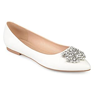 Journee Collection Womens Pointed Toe Jewel Faux Leather Flats