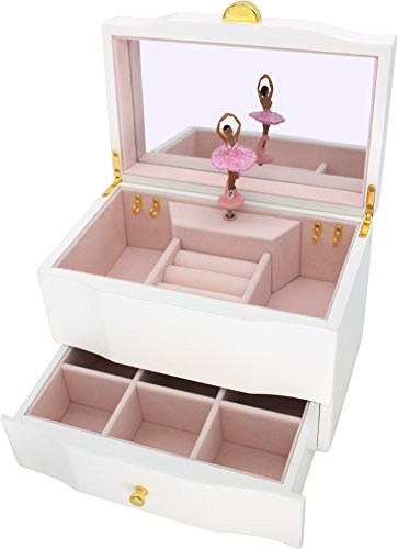 Search : Attii African American Ballerina Jewelry Box Wooden Music Box for Girls with Drawer and Large Mirror, Waltz of the Flowers (The Nutcracker) Tune, White