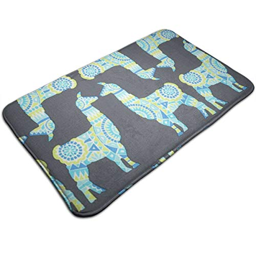 Niwaww Llama Rama Spring - Michael Miller Indoor Mud Doormat Non Slip Door Mat for Small Front Door Inside Floor Dirt Trapper Mats Cotton Entrance Rug Shoes Scraper Machine