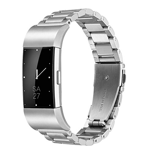 - Fitbit Charge 2 Wrist Band,Shangpule Stainless Steel Metal Replacement Smart Watch Band Bracelet with Double Button Folding Clasp for Fitbit Charge 2 (Silver)