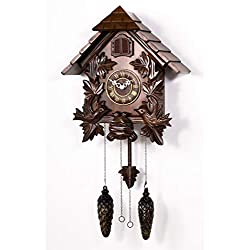 Polaris Clocks Cuckoo Wall Clock with Night Mode Option in Black Forest Style (Brown, 16 Size)