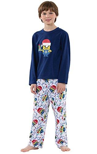 PajamaGram Officially Licensed Minion Holiday Fleece Big Boys Pajamas, Blue