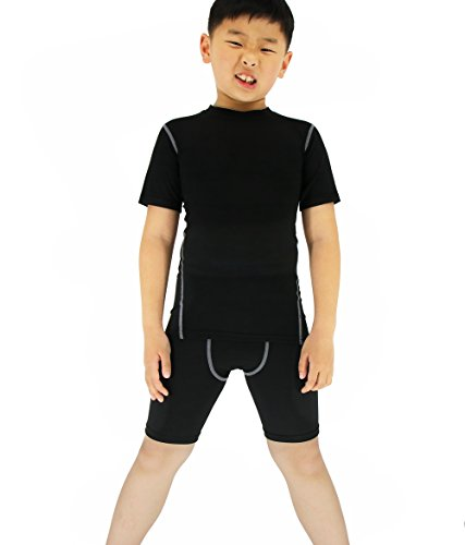 LANBAOSI Boy's Compression Shirts Pants Child's Short Sleeve Base Layer Set (14, Black Set) by LANBAOSI