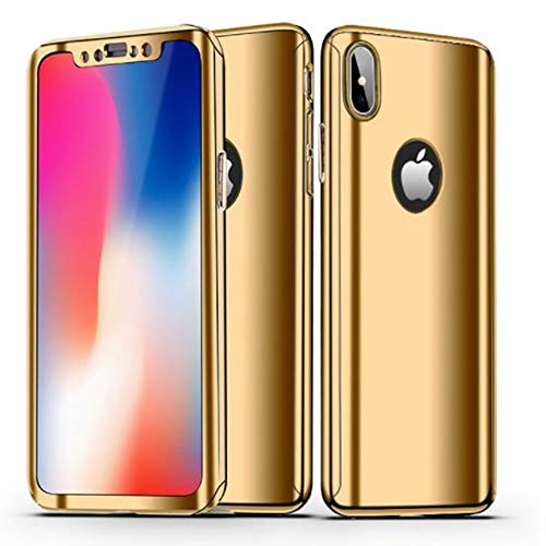 Price comparison product image iPhone 8 Hard Full Body Case, Aulzaju iPhone 7 Luxury Plating Slim Shockproof Front Back Case with Tempered Screen Protector for iPhone 8 / 7(iphone 8 / iphone7 4.7 inch,  Gold)
