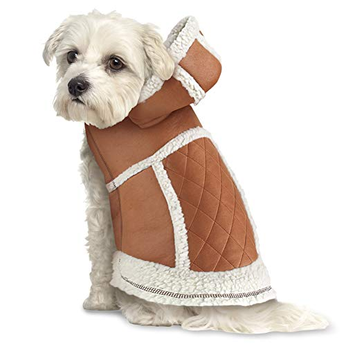 Coat Faux Dog Suede (Collections Etc Warm Quilted Faux Suede Winter Dog Coat with Hood - Sherpa Lining and Fleece Trim with Easy On/Off Closures, Camel, Medium)