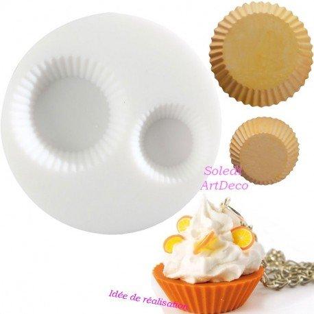 Moule en Silicone 2 Motifs Miniatures Cupcake, Rond de 7cm Extra Flexible pour Fimo, Plâtre, Résine, Porcelaine Froide Graine créative