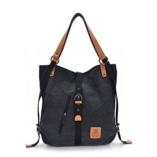 Casual Large Handbags (Fashion Shoulder Bag Rucksack, Canvas Multifunctional Casual Handbag Travel Backpack For Women Girls Ladies, Large Capacity Black 14.17 Inch(L) x 3.94 Inch(W) x 14.96 Inch(H))