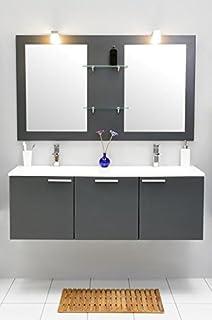 Badmöbel Set Mit Waschbecken Spiegel Unterschrank Doppel Waschtisch  Waschbeckenunterschrank Badezimmer Bad Set Vormontiert (
