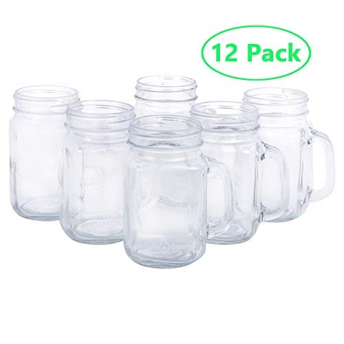 16oz Glass Mason Jar Drinking Cups/Mugs with Handle - Great for Gifts (12 Pack)