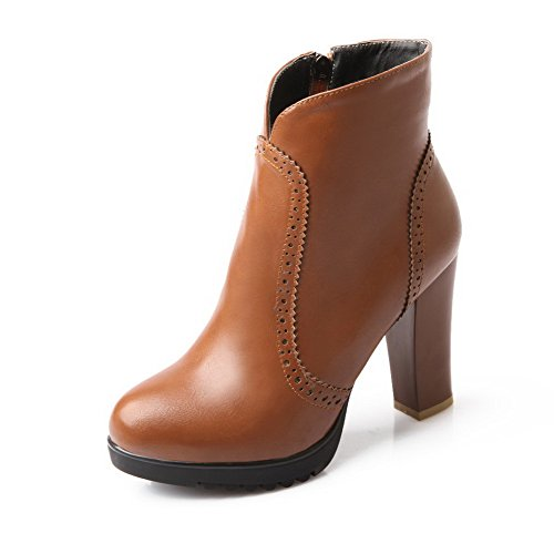 AmoonyFashion Womens Round Closed Toe High Heels Synthetic Solid Boots with Zippers Brown 5Ccnkk