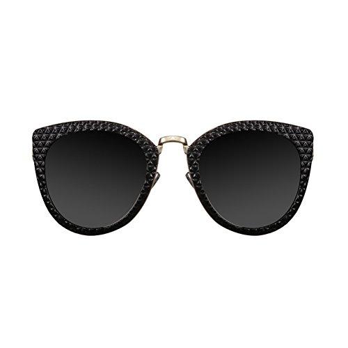 Europeo Mujer sol Eyes Polvo Negro y Blue HLMMM americano Gafas de Powder Retro Tide Black Grey Street Cat Bright Color qtRwBIxF