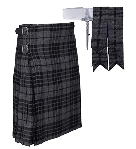 Traditional Gray Tartan Plaid Kilt FREE Flashes & Kilt Pin (Belly Button Size 46)