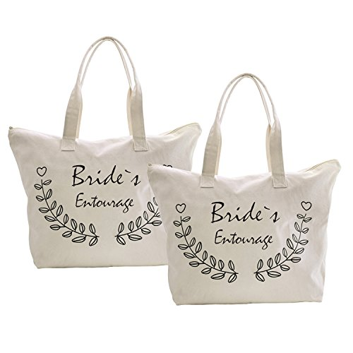 Elegantpark 1 Entourage Bride`s Bags Tote 100 Natural Canvas 2 Bag Packs Half X Zipper Groom Mother 4n4qSFrg