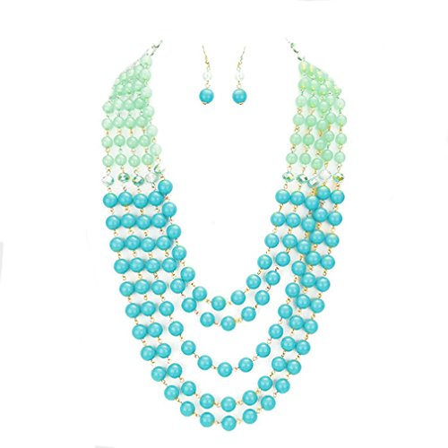 (Affordable Wedding Jewelry Mint Green Turquoise Layered Beads 26