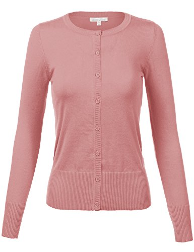 Plus Size Simple Crew Neck Long Sleeve Solid Color Cardigans,Pink,XXL