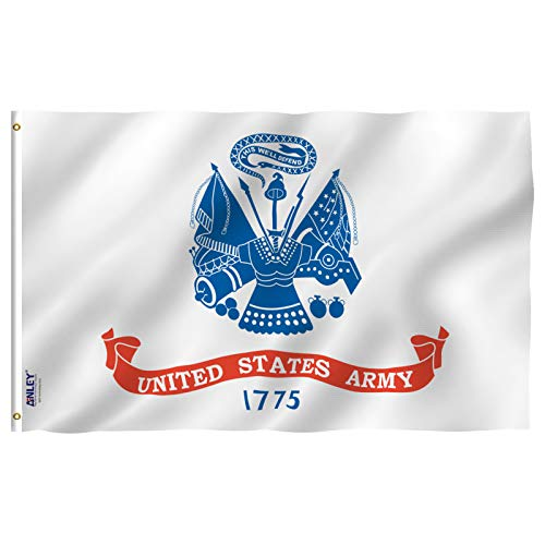 Anley Fly Breeze 3x5 Foot US Army Flag - Vivid Color and UV Fade Resistant - Canvas Header and Double Stitched - United States Military Flags Polyester with Brass Grommets 3 X 5 Ft