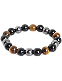Triple Protection Bracelet for Protection Bring Luck and Prosperity Hematite Black Obsidian Tiger Eye Stone Bracelets