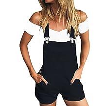 KunLunMen Women's Short Pockets Bib Romper Overalls Shortalls