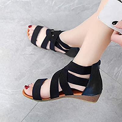 ALOTUS Fashion Women's Ankle Low Wedges Zip Sandals Gladiator Flat Summer Comfy Shoes Elastica Design Plus Size Black | Platforms & Wedges