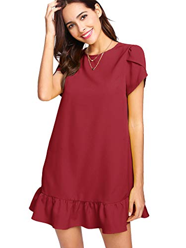 Verdusa Women's Round Neck Petal Short Sleeve Ruffle Hem Tunic Dress Burgundy L