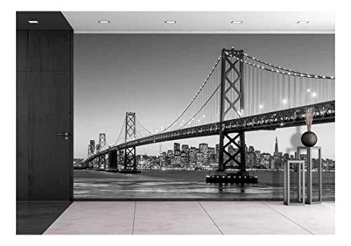 wall26 - San Francisco Skyline and Bay Bridge at Sunset, California USA - Removable Wall Mural   Self-Adhesive Large Wallpaper - 66x96 inches