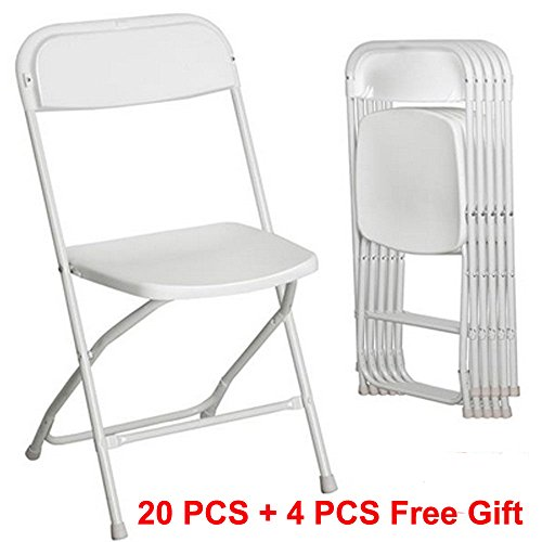 Sliverylake ( 20 PACK + 4 Pcs Free Gift ) Commercial Wedding Quality Stackable Plastic Folding Chairs White