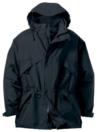 Men's 3-in-1 Techno Series Parka Jacket With Dobby Trim, Color: Black, Size: Large
