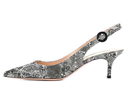 Da Cinturino Multicolore Alti Ubeauty Slingback Col Scarpe Donna Tacchi 65mm Caviglia Alla Con c Tacco Eleganti S6Bq51