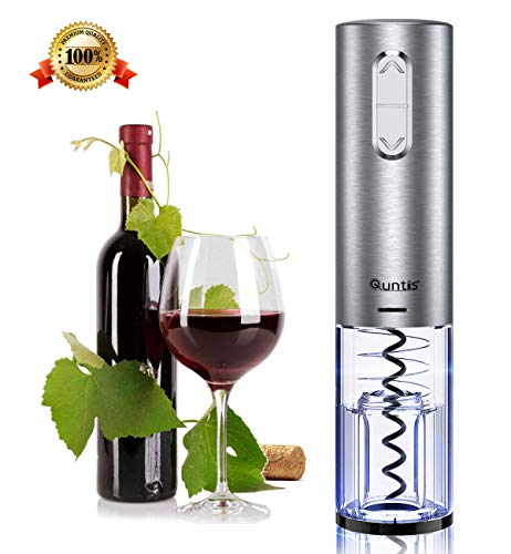 Cordless Electric Wine Bottle Opener – Quntis Wine Opener Stainless Steel – Wine Corkscrew Rechargeable Gift Set – Red Wine Opener with Foil Cutter Pourer Vacuum Stopper and USB Charger Cable