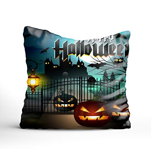 FunnyLife Pillow Cover Happy Halloween Cushion Cover Printed Pillow Case 26x26 inch Pillowcase Multicolor]()