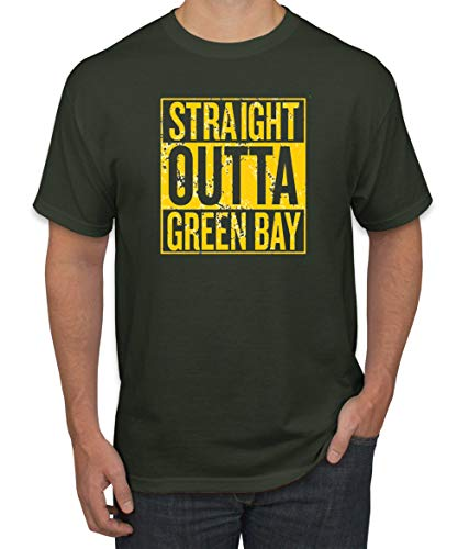- Straight Outta Green Bay GB Fan | Fantasy Football | Mens Sports Graphic T-Shirt, Forest Green, Large