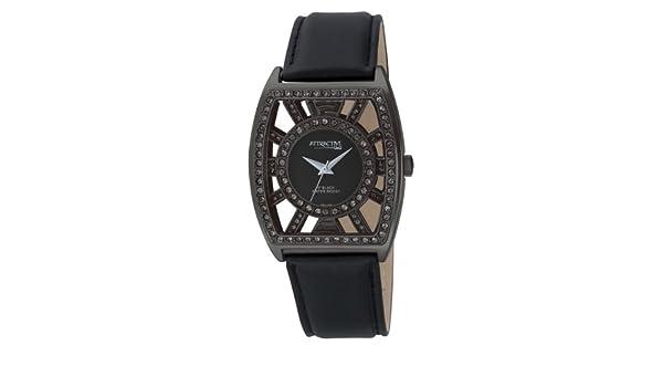 Q&Q DB15J502 - Reloj de cuarzo para mujer, con correa de cuero, color negro: Amazon.es: Relojes