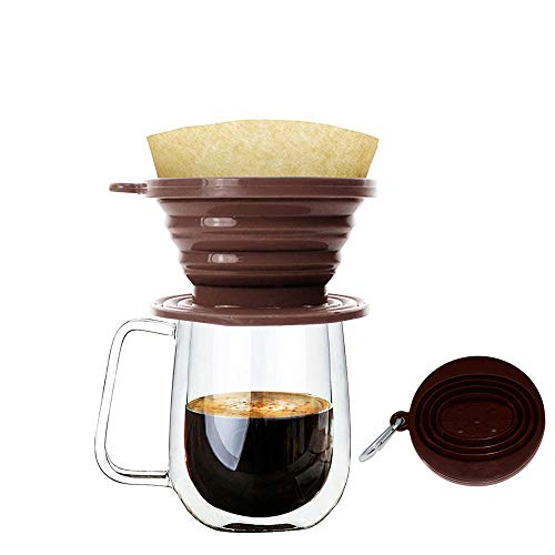 Wolecok Silicone Collapsible Coffee Filter, Camping Coffee Dripper Cone, Pour over Coffee Brewer Coffee