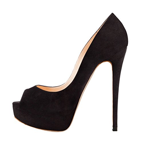 Onlymaker Women's Sexy High Heels Peep Toe Slip On Platform Pumps Stiletto Dress Party Wedding Shoes Black Suede US10