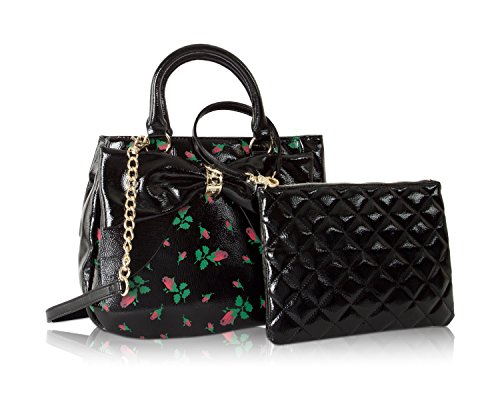 Johnson Leather (Betsey Johnson Rosebud Floral Faux Patent Leather Bag In Bag Bow Trim Triple Entry Satchel Crossbody)