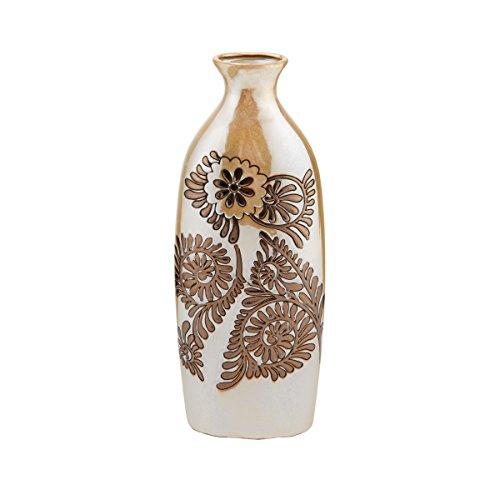 Elements Ceramic Bronze Suzani Vase, 14.2-Inch by Elements