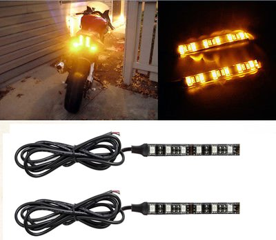 2x Universal Amber 6LED Motorcycle Strip Turn Signal Indicator Blinker Light 12V