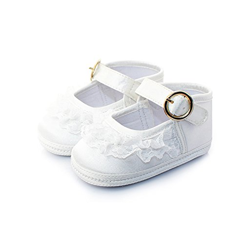 Itaar Baby Girls Shoes with Lace Decor Soft Sole Golden Buckle