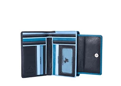 Visconti RB98 Multi Colored Soft Leather Ladies / Girls Compact Bifold Wallet & Purse (Blue)