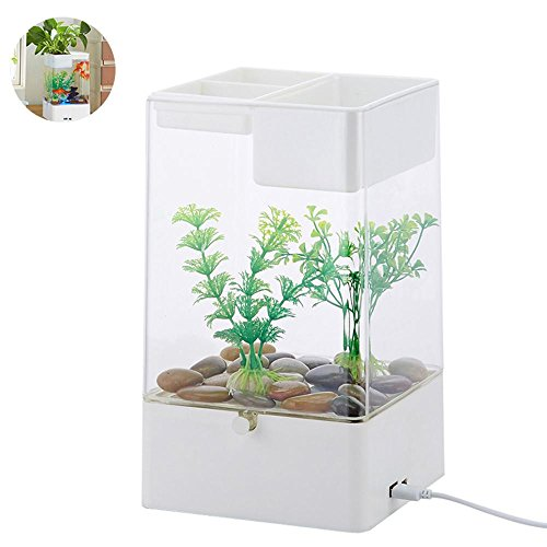Aolvo Aquaponic Betta Fish Tank, Mini Water Garden Fish Tank with LED Colorful Lights, Cube Aquarium Starter Kit, Aquarium Tank Kit for Home Decor, Desk, Bar Top, Window Sill Water Garden - White
