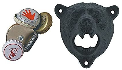 Black opener + Round Magnet Tozz Pro /® Cast Iron Wall Mount Grizzly Bear Teeth Bite Bottle Opener COMINHKPR118275