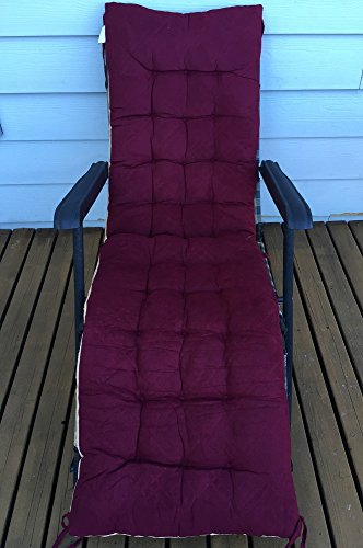 Ofit Quilted Micro Suede Chair Pads Bench Cover Ottoman Patio Long Chair Cushion Pads (17x40'(pad), Wine)