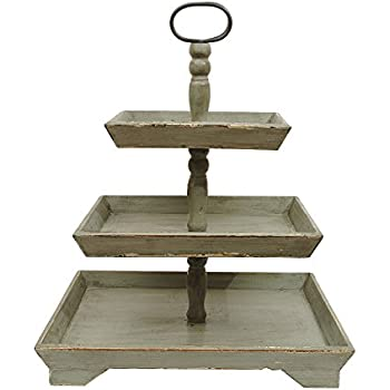 Creative Co-Op DA4440 Bungalow Lane Grey Square Decorative Wood Three-Tier Tray