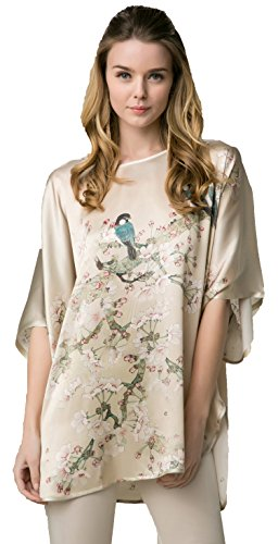 Charmeuse Silk Tunic (Grace Silk 100% Silk Nightgown/Tunic, Birds and Cherry Blossom, Beige)