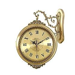 Qrweretuuio Double-Sided Wall Clock Living Room European Metal Mute Clock Wooden Quartz Clock Clock Hanging Table Metal Double-Sided Wall Clock 4532cm Multi-Color Optional (Color : Metallic)