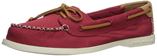 SPERRY Women's A/O Venice Canvas Boat Shoe, Red, 10 Medium US