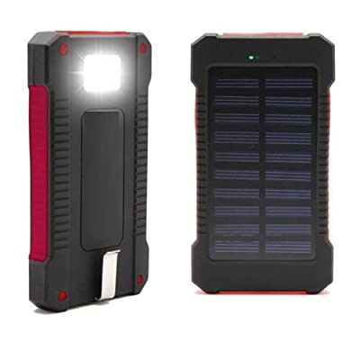 Solar Charger, Coversuit 30000mAh Dual USB Solar Battery Charger External Battery Pack Phone Charger Power Bank with Flashlight