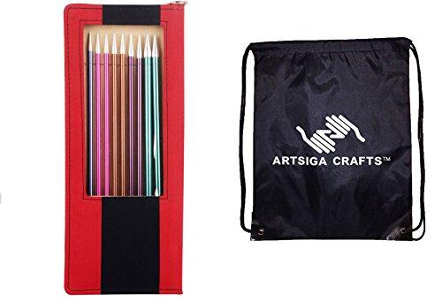 Knitter's Pride Knitting Needles Zing Straight Set 14 inch- Bundle with 1 Artsiga Crafts Bag 140305