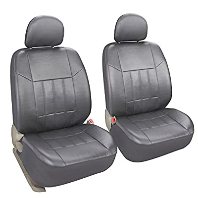 Leader Accessories Faux Leather Two Front Seat Covers for Car Truck SUV Universal Fit